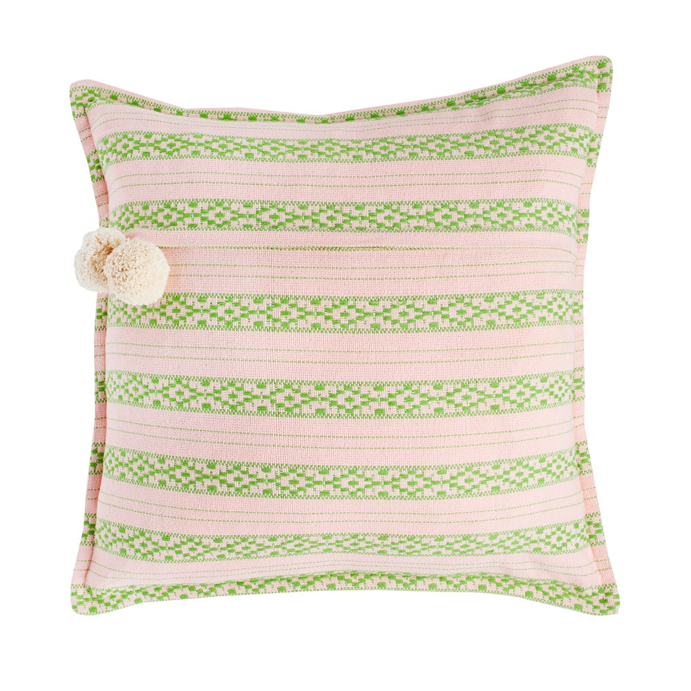 Image of P o l k u cushion, blush pink/green