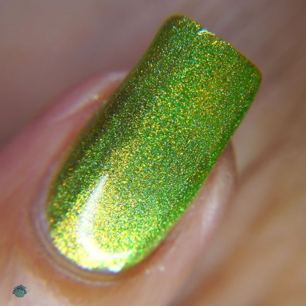 Image of Mistletoe - lime green with strong aurora shimmer  gold shift in a linear holo