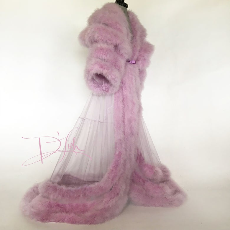 Image of Lilac Marabou Dressing Gown w/ Extravagant Collar & Cuffs