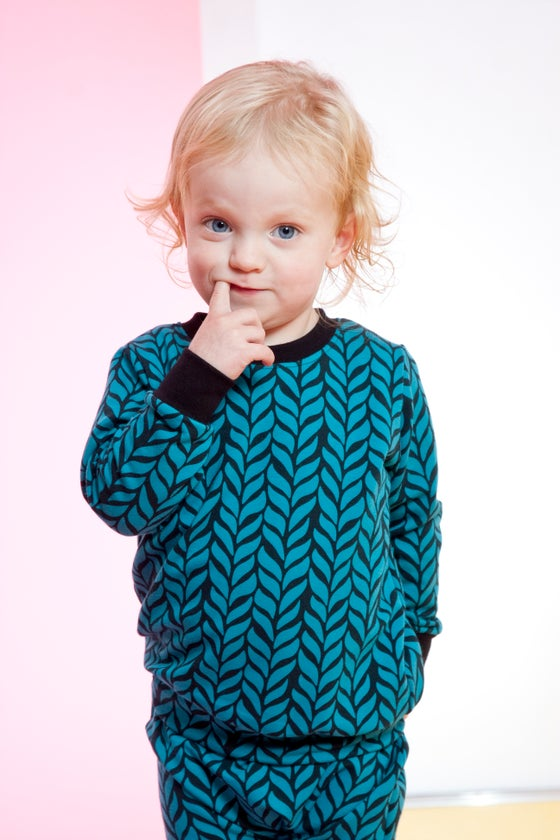 Image of Teal blue Woven Print Sweater