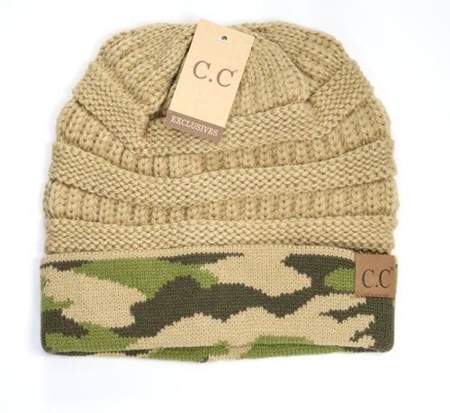 Image of Camouflage Contrast Knit CC Beanie - 2 styles