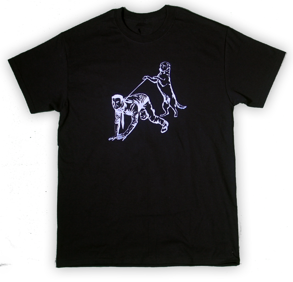 Image of Human Walking Black Tee