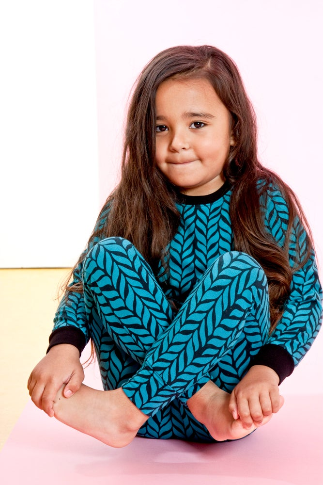 Image of Teal Blue Woven Print Harem Leggings