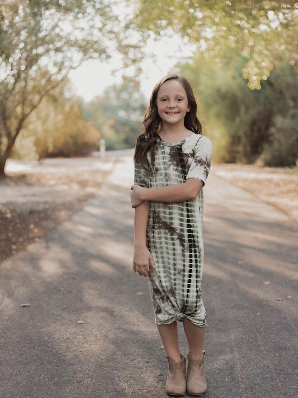 Image of Baby/Girls • Green Tie Dye • Knot Knit Dress