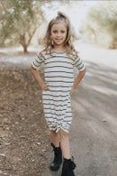 Image 1 of Baby/girls white pinstriped knot knit dress