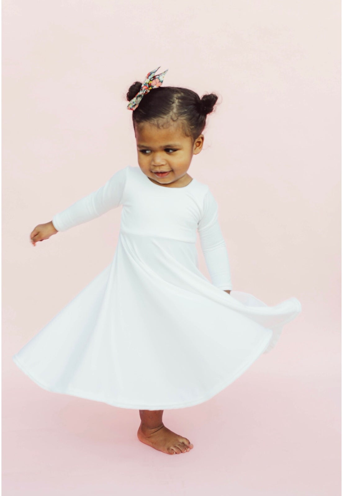 Image of Baby/Girls * Plain White * Twirly Dress Long Sleeves