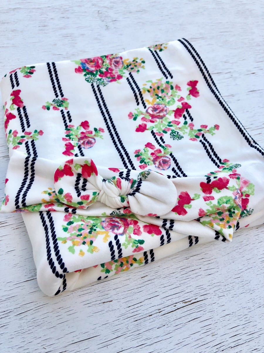 Image of *NEW Striped Floral Swaddle Set