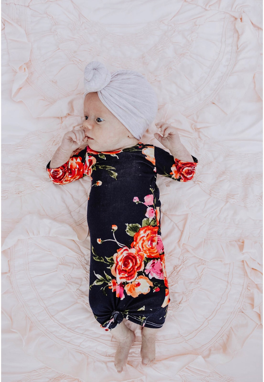 Image of Baby/Girls * Navy Bright Floral * Floral Knot Knit Dress