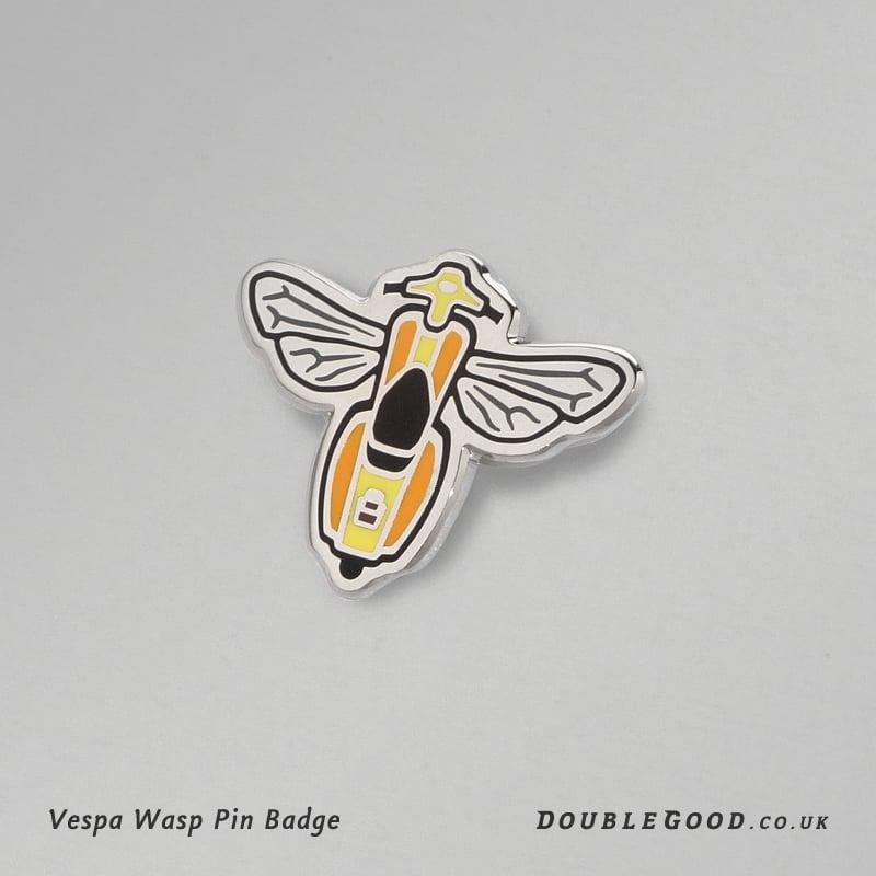 Image of Vespa Wasp Pin Badge - yellow