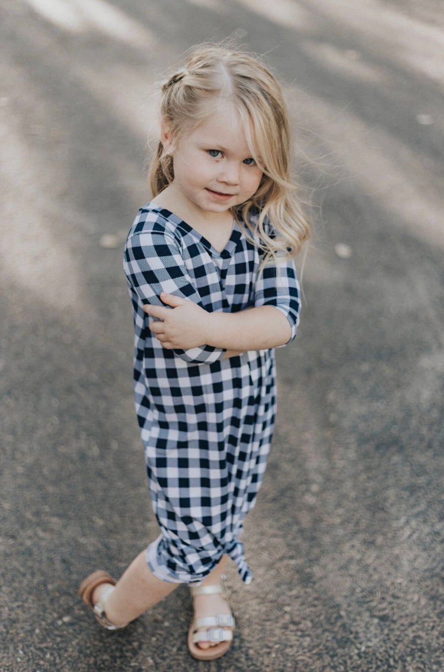 Image of Baby/Girls • Navy Checker • Knot Knit Dress