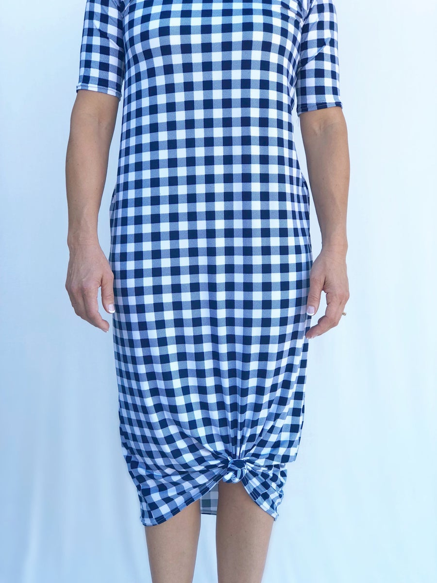 Image of Women's • Navy Checkers • Knot Knit Dress