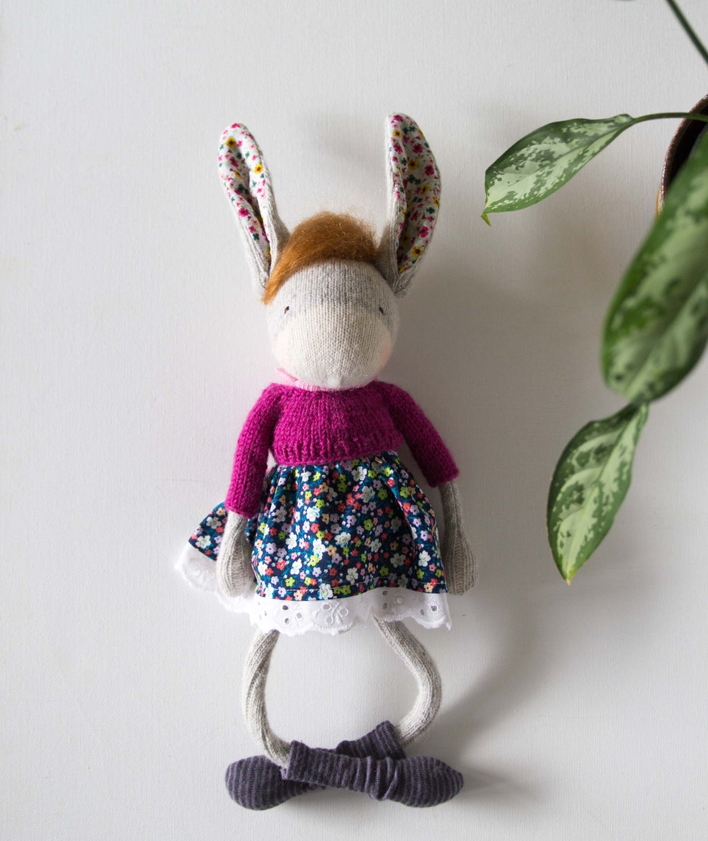 Image of Doris - Wool filled Sculpted Sock Donkey