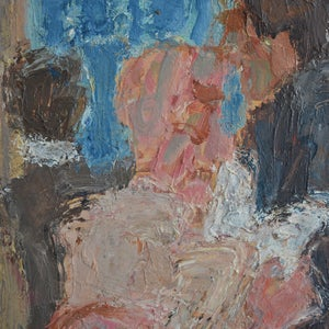 Image of Mid-century Oil Painting, 'Metro.' Jean-Pierre GRÜN (1935-2014)