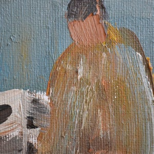 Image of Swedish Painting, 'Fisherman,' Arne Wallsten (B.1932)
