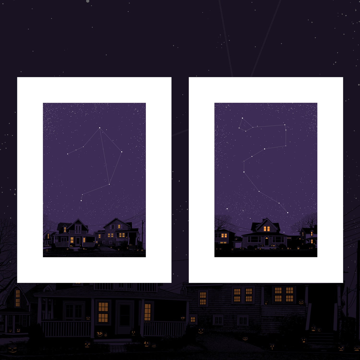 "Image of ""Night on Earth"" - 7 & 8 - LIBRA & DRACO - 2 PRINT SET"