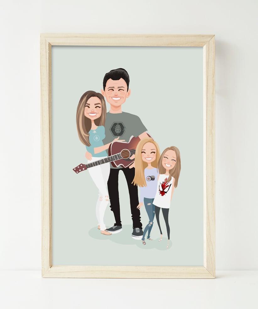 Image of Family of 4 custom portrait