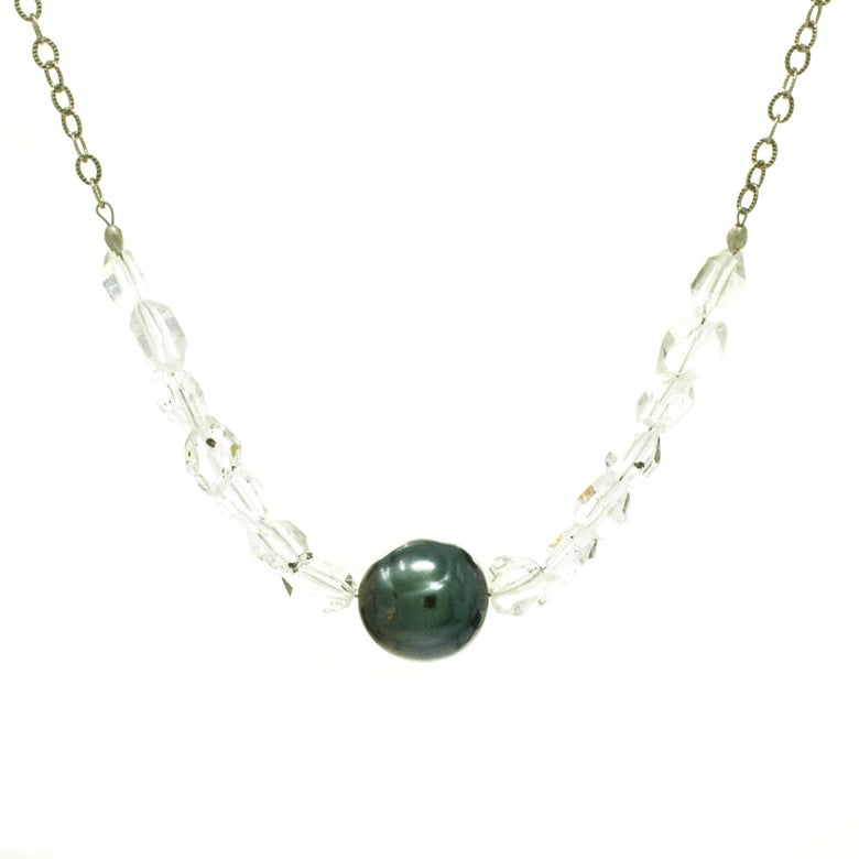 Image of Tahitian pearl necklace with double terminated quartz sterling silver