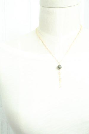 Image of Tahitian pearl tassel necklace 14kt gold-filled
