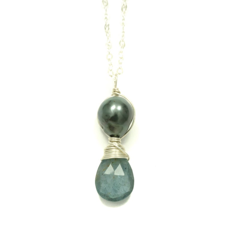 Image of Tahitian pearl necklace moss aquamarine sterling silver