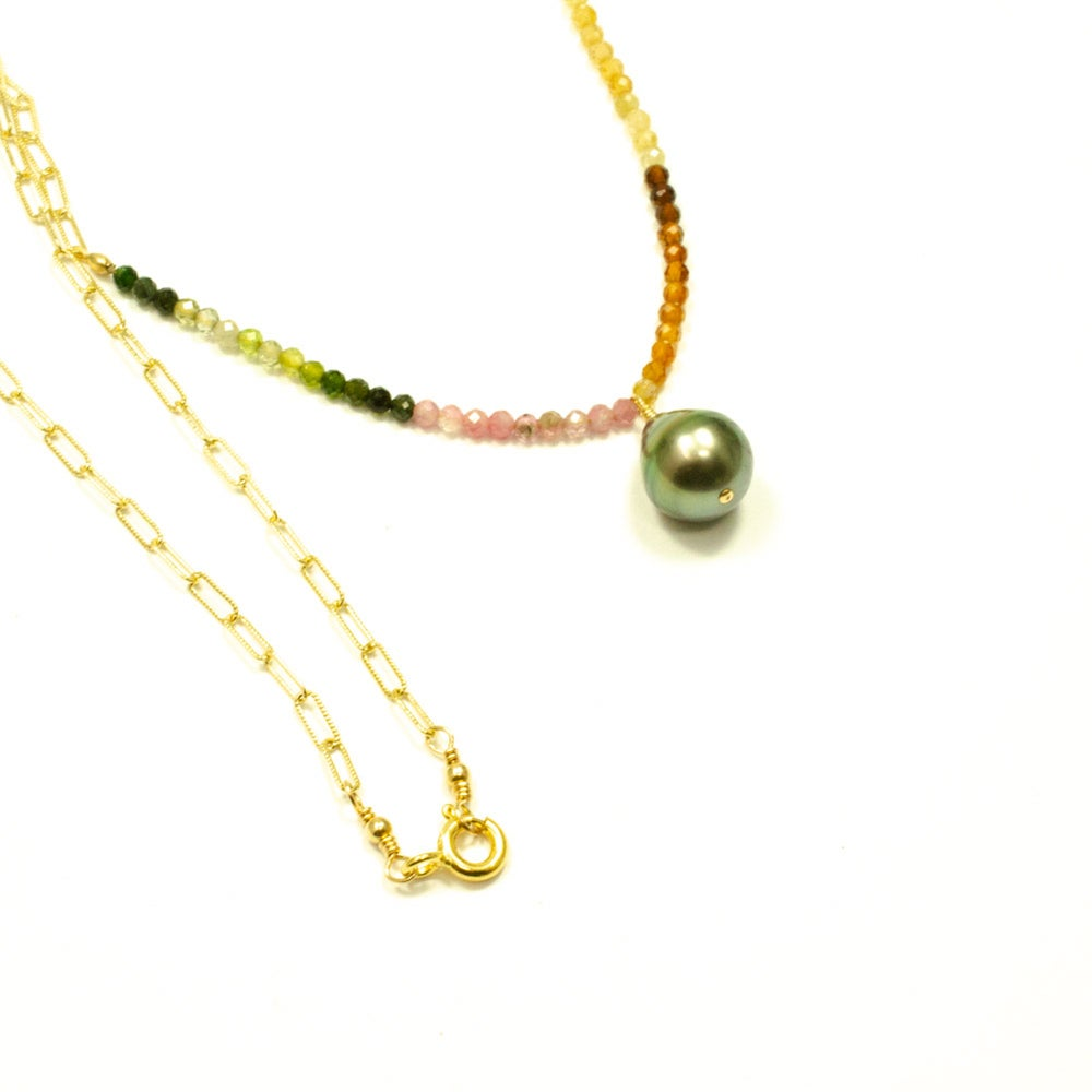 Image of Tahitian pearl necklace tourmaline 14kt gold-filled
