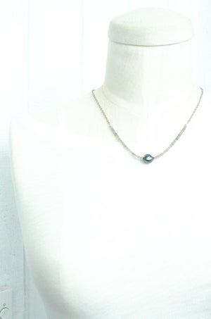 Image of Tahitian pearl necklace labradorite sterling silver