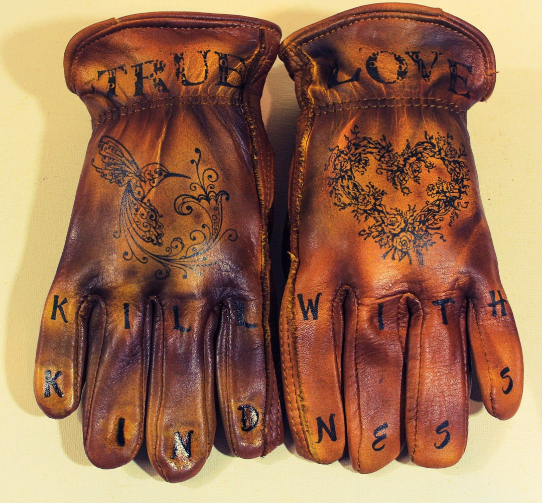 Image of Kill With Kindness womens custom leather gloves #17B