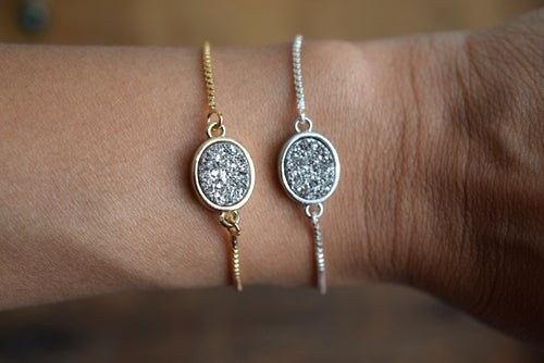 Image of The Silver Druzy Bolo bracelet