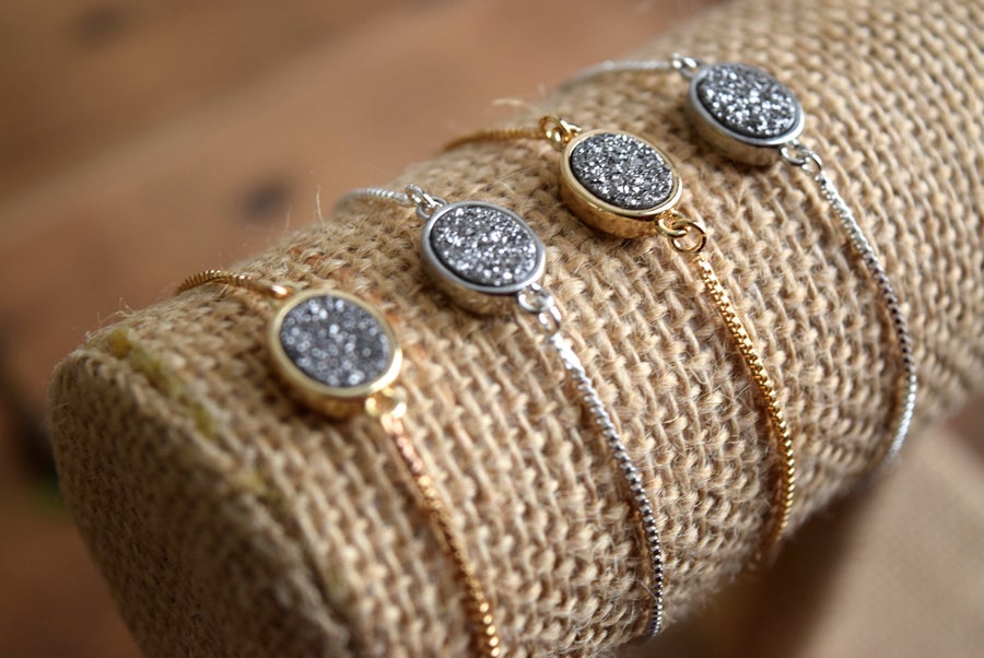 Image of The Silver Druzy Bolo bracelet