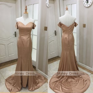 Image of Fashion Gold Satin Off The Shoulder Mermaid Special Occasion Dress With Slit