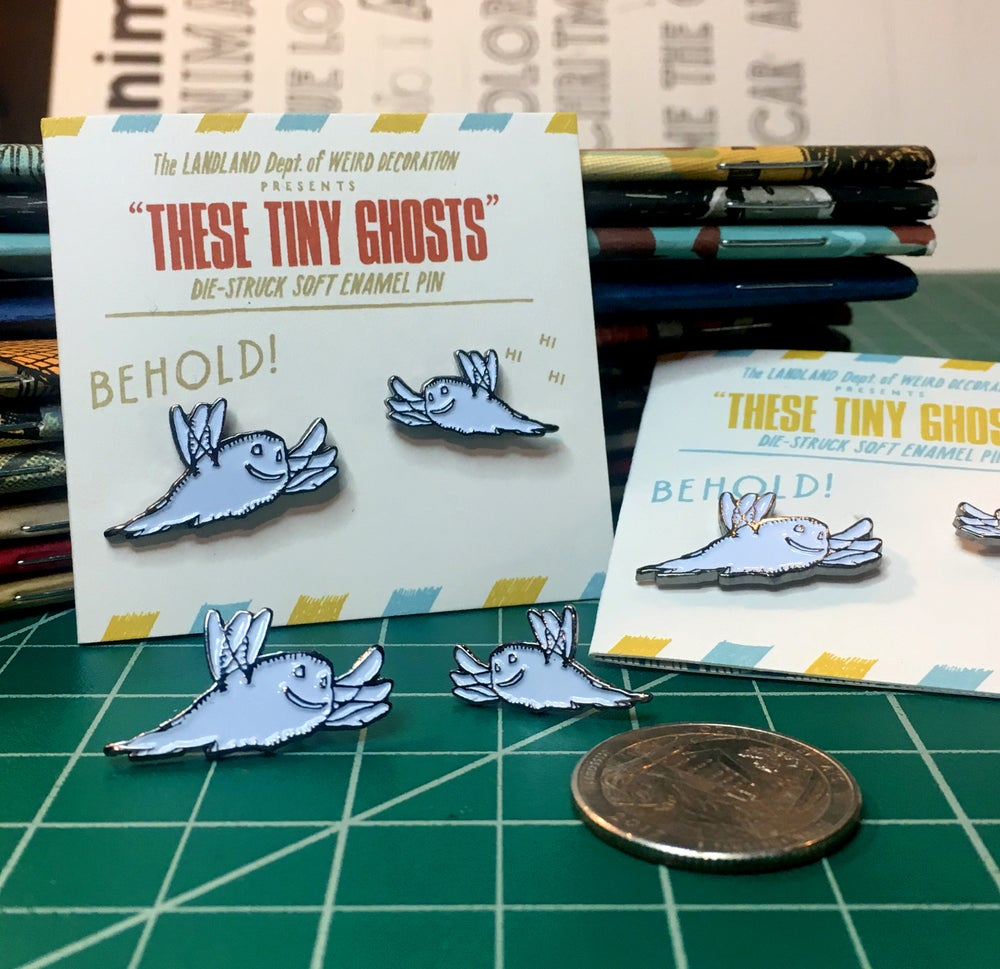 """NEW! """"These TINY Ghosts"""" Enamel Pins (Set of Two)"""
