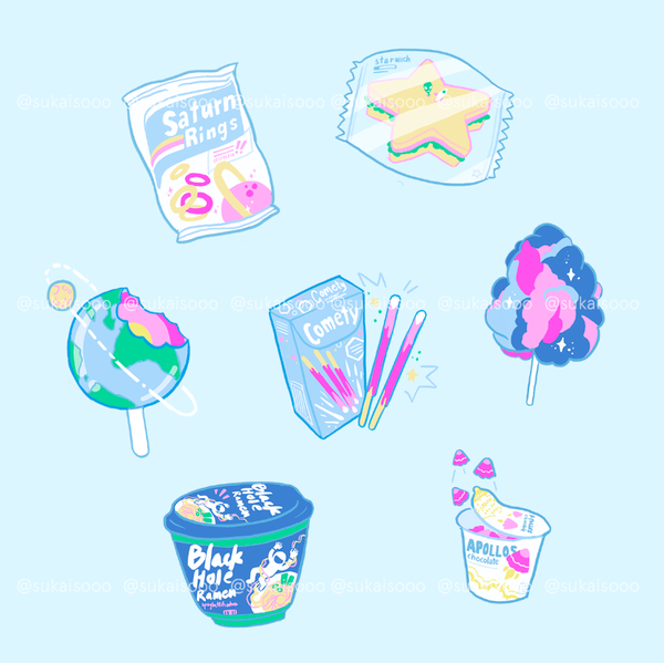 Image of Space Snacks kiss cut Stickers