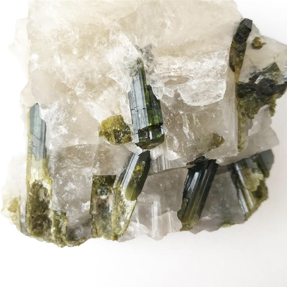 Image of Green Tourmaline Crystals/Quartz no.58 + Lucite and Brass Stand Pairing