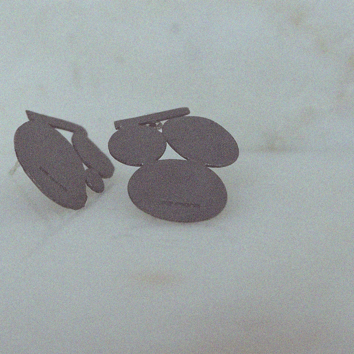 Image of Paola Midi Pebble Earrings  in Oxidised Silver