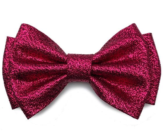 Image of Fuchsia Lurex pre-tied Bow tie