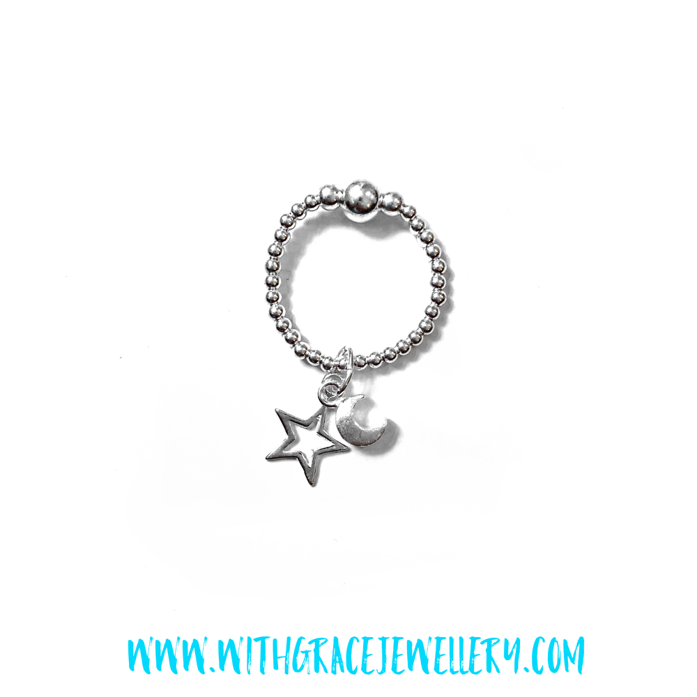 Image of Sterling Silver Moon & Star Charm Ring