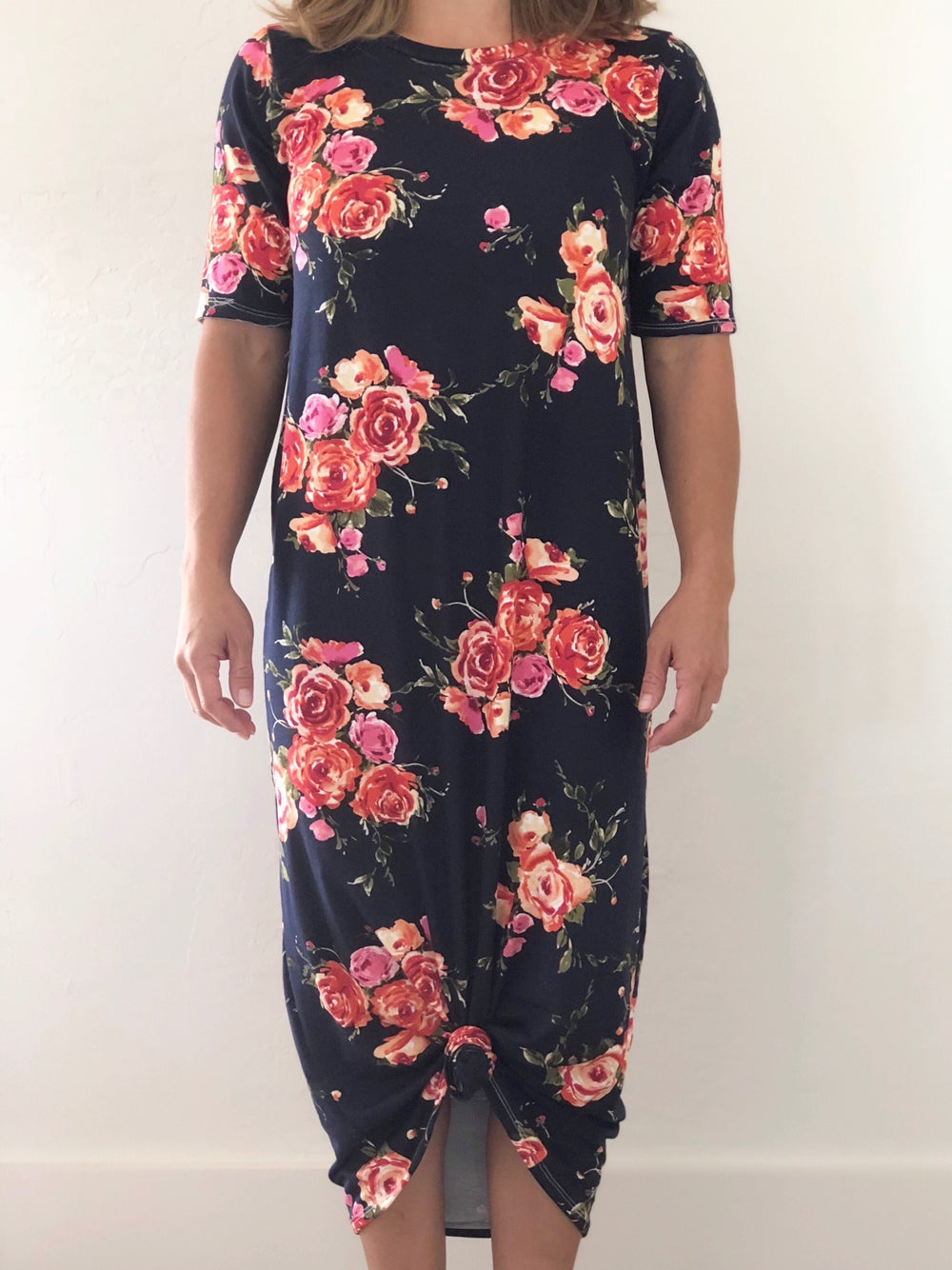 Image of Women's Navy Bright Floral Knot Knit Dress