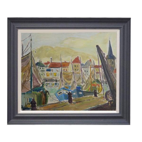 Image of Mid-century French Harbour scene.