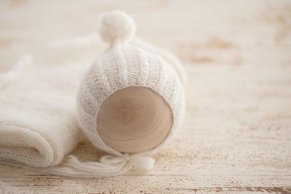 Image of Twisted Rib Yarn Pom Pixie Bonnet + Wrap