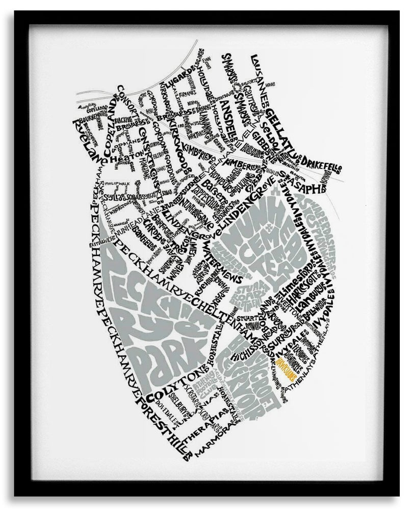 Image of Peckham Rye - Nunhead - White text on black background