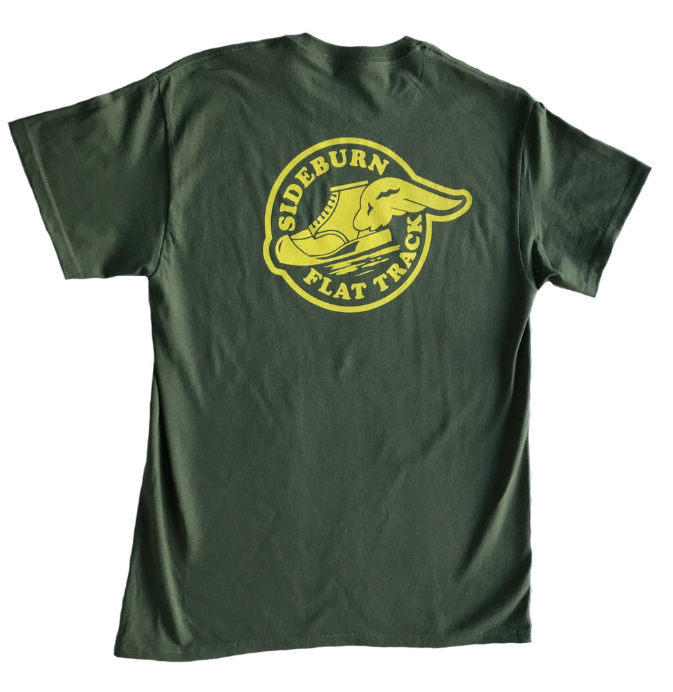 Image of Sideburn Flat Track T-shirt - Green