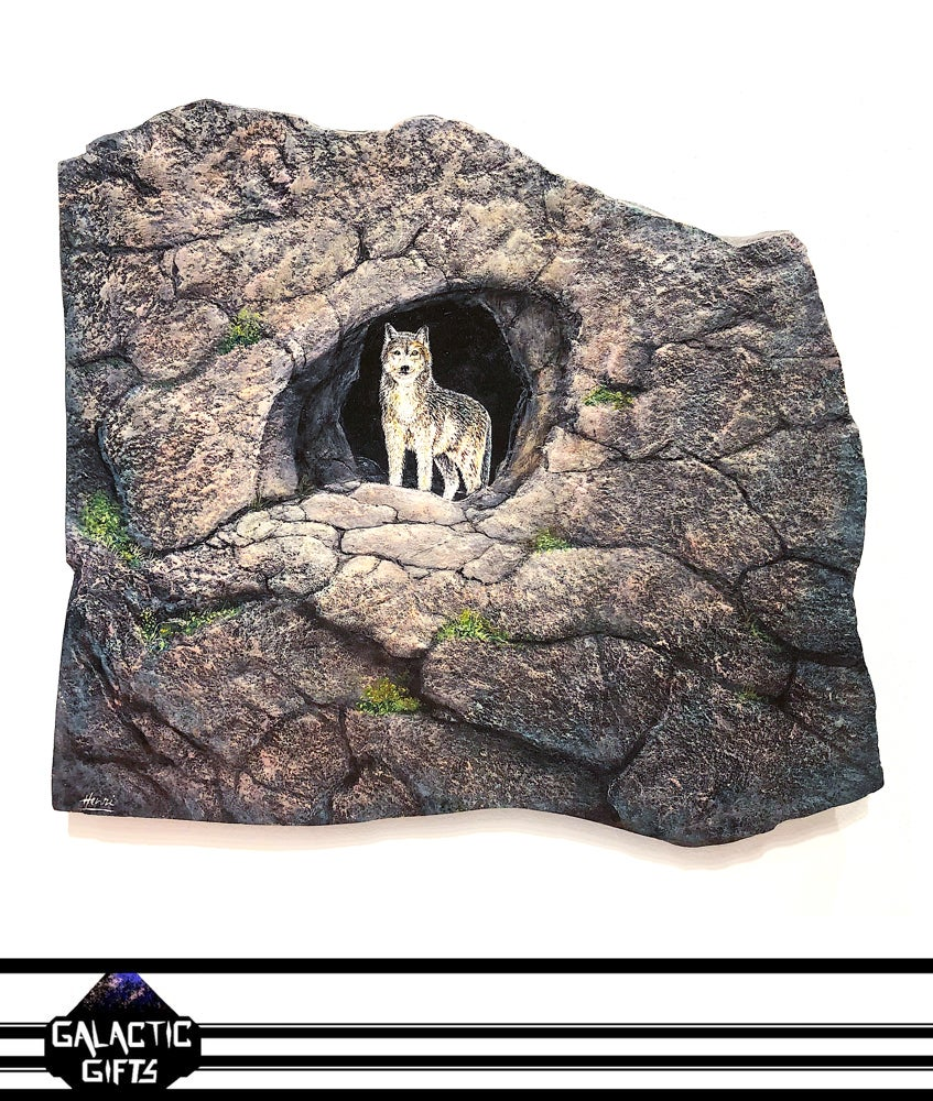 """Image of Henri Lobo """"Wolf Cave Rock Painting"""""""