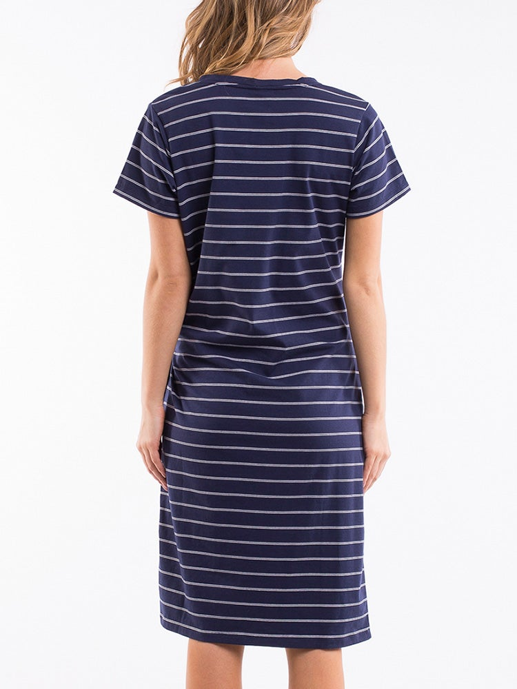 Image of ELM Thea Tie Dress / Navy and White Stripe