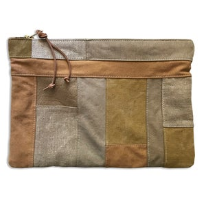 Image of PATCHWORK TILE POUCH - AMBER