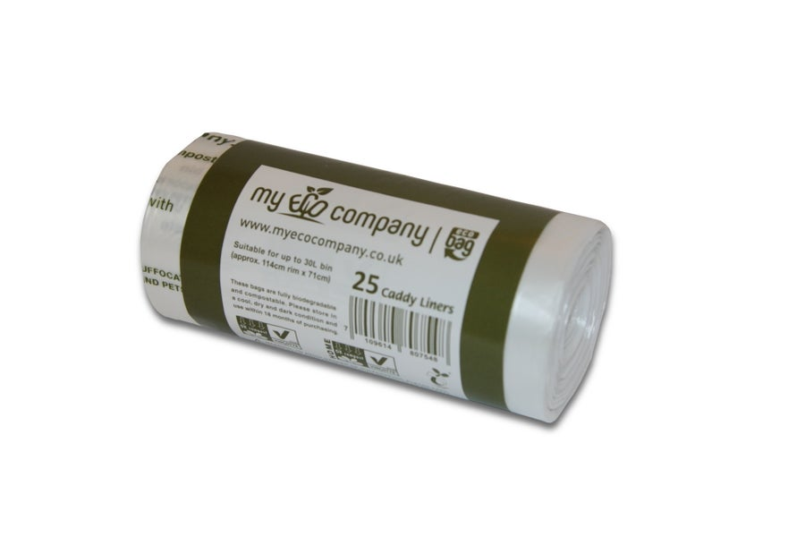 Image of 30 Litre Biodegradable & Compostable Food Waste Bin Bags - 25 Kerbside Caddy Bin Liners