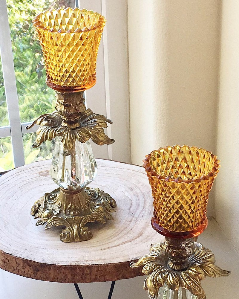 Image of Vintage pair of Candlestands with Amber votives