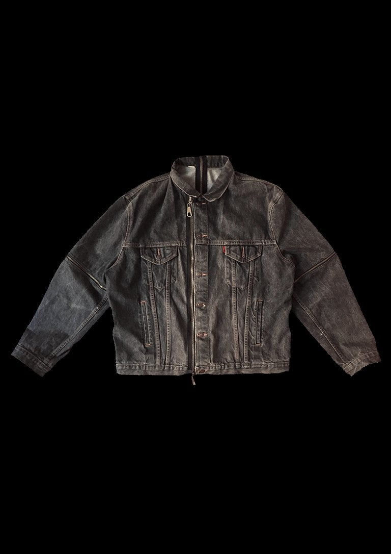 Image of BLACK SLEEVES DENIM JACKET ZIPPER