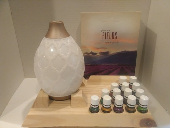 "Image of Essential Oil Class Display - Unique ""Double Holes"" accommodate either size bottle"