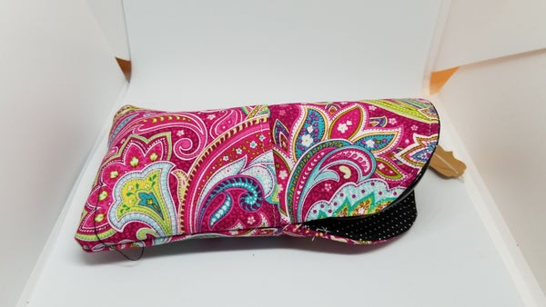 Image of Hot pink paisley eye glass case