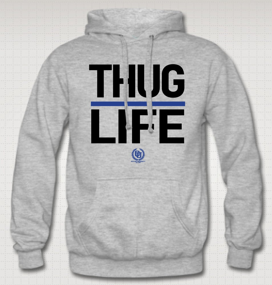 Image of Thuglife Hoodie - Blue Stripe - COMES IN BLACK, GREY, RED