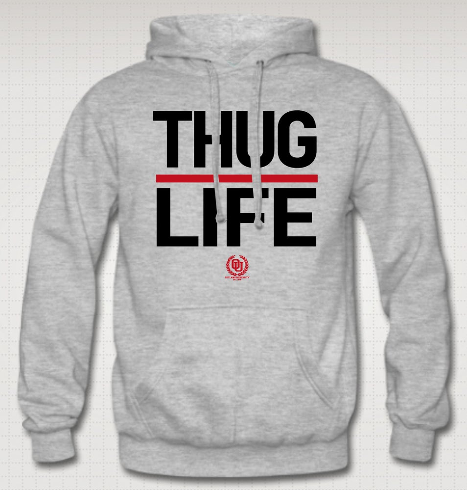 Image of Thuglife Hoodie - Red Stripe - COMES IN BLACK, GREY, NAVY BLUE